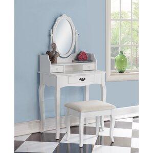 rustic makeup vanity set. Emmett Ribbon Wood Makeup Vanity Set with Mirror Tables and Vanities You ll Love  Wayfair