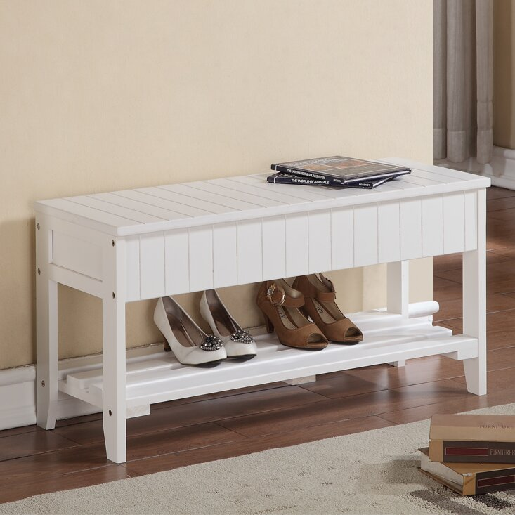 Andover Mills Ravenwood Upholstered Storage Bench: Andover Mills Rumford Wood Storage Bench & Reviews