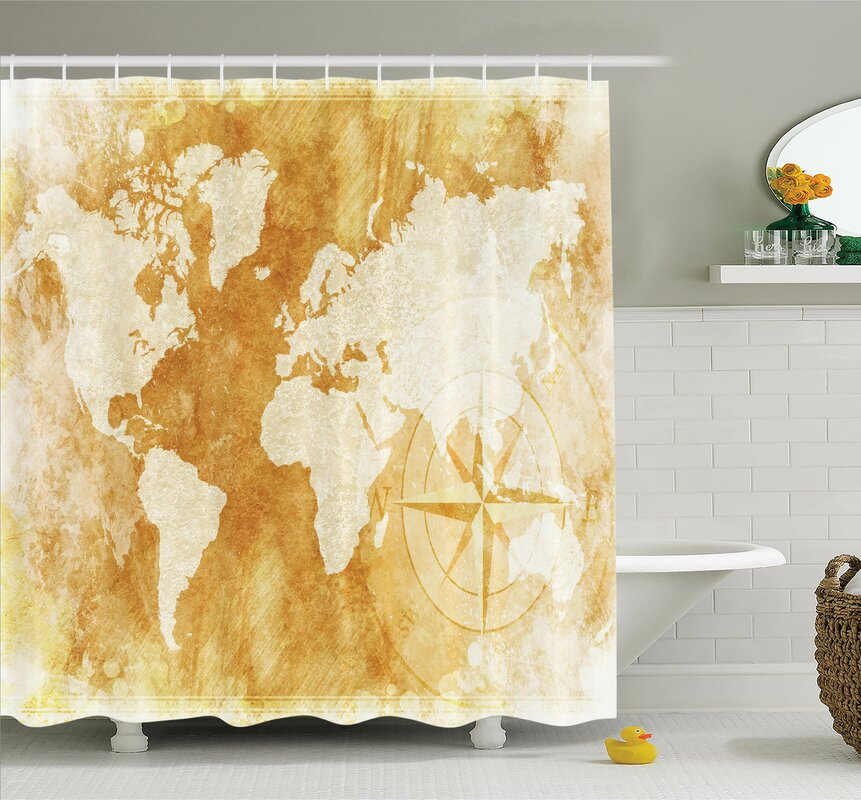 Ambesonne old fashioned world map shower curtain set reviews wayfair old fashioned world map shower curtain set gumiabroncs Images