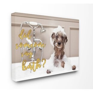 Superior Bubble Bath Dog Graphic Canvas Wall Art