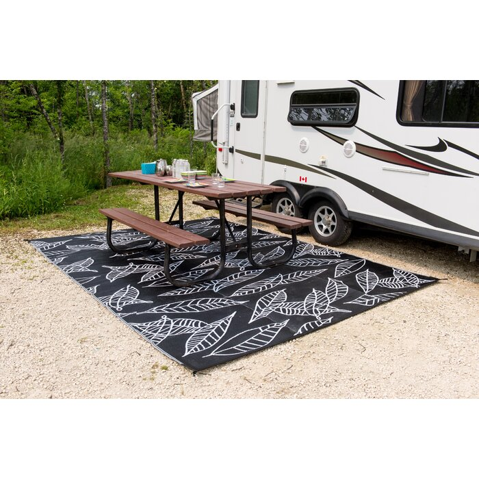 Arctic Reversible Rv Camping Patio Mat Black White Outdoor Area Rug