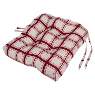 Superieur Large Scale Plaid Cushioned Chair Pad In Red