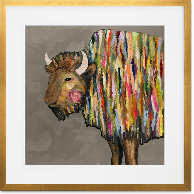 Bison On Putty Paper Print Wall Art With Gold Frame Joss Main