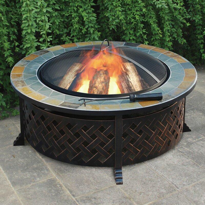 Jeco Inc Lattice Steel Wood Burning Fire Pit Table