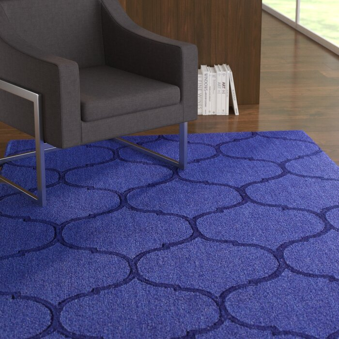Demastro Hand Woven Blue Wool Area Rug