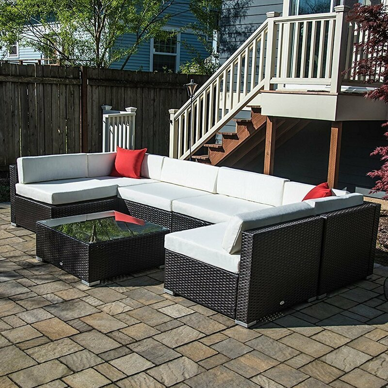 Rattan Table And Chairs Garden Furniture Outsunny 7 piece rattan sectional set with cushions reviews wayfair 7 piece rattan sectional set with cushions workwithnaturefo