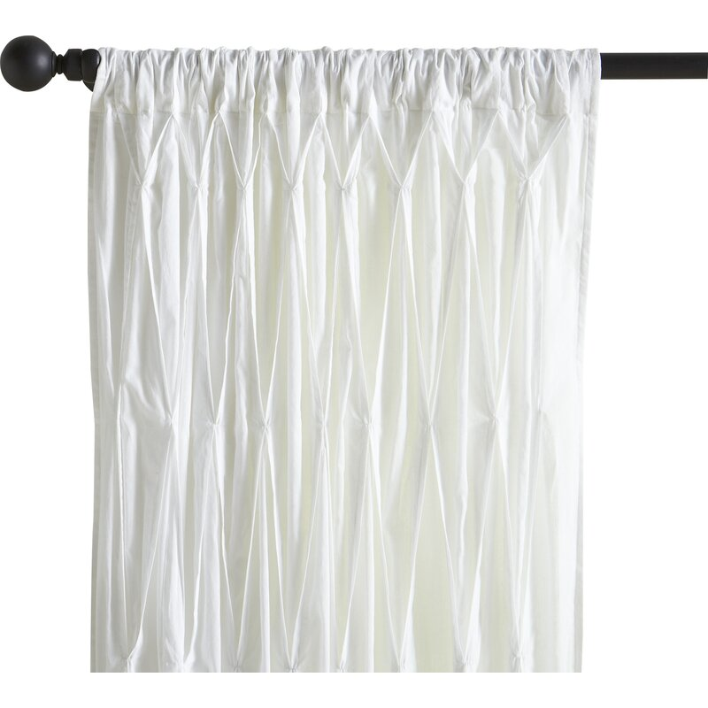 Casimiro Cotton Voile Solid Sheer Pinch Pleat Single Curtain Panel