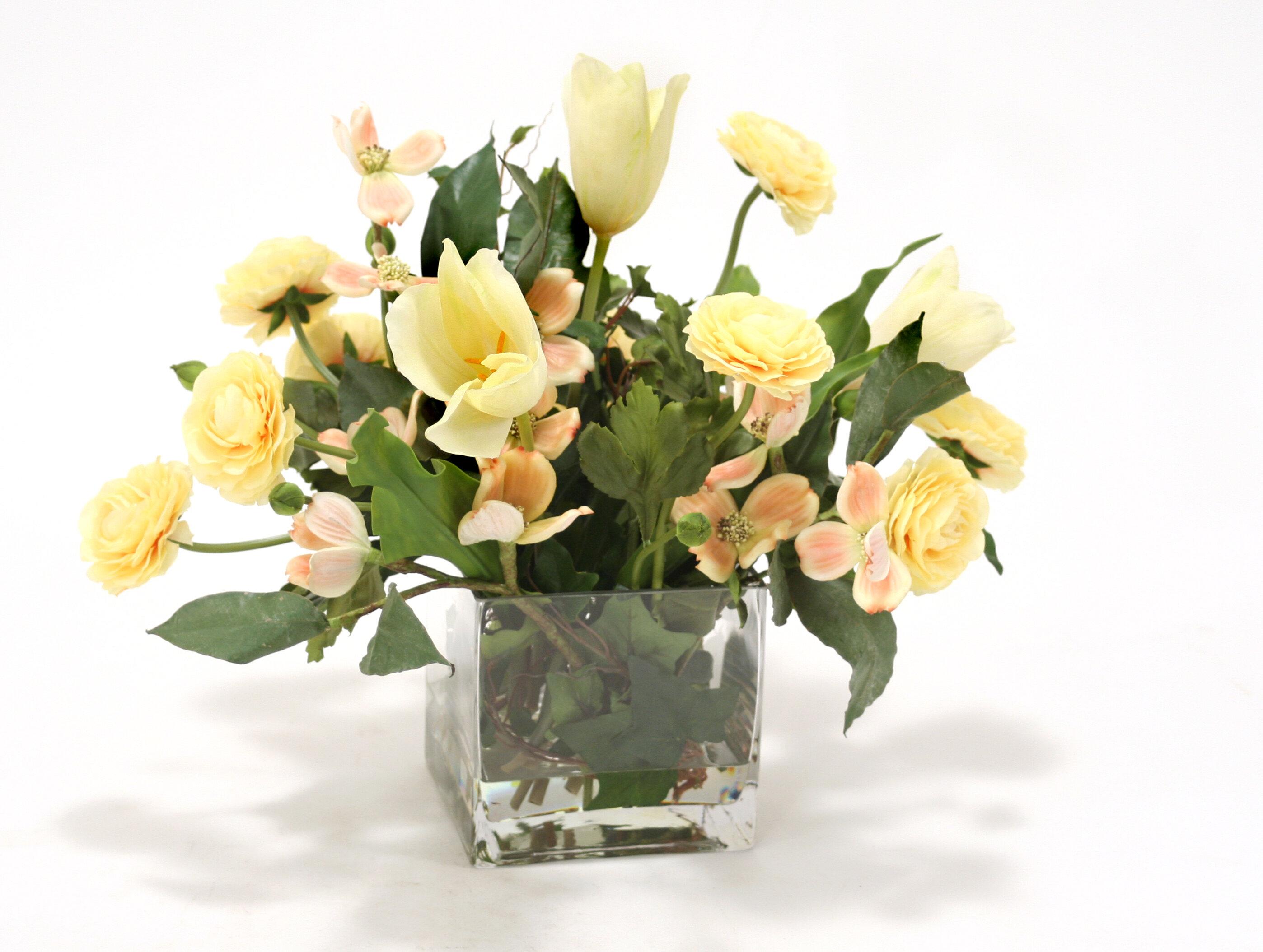 Distinctive Designs Waterlook Soft Dogwood, Tulips and Ranunculus in ...