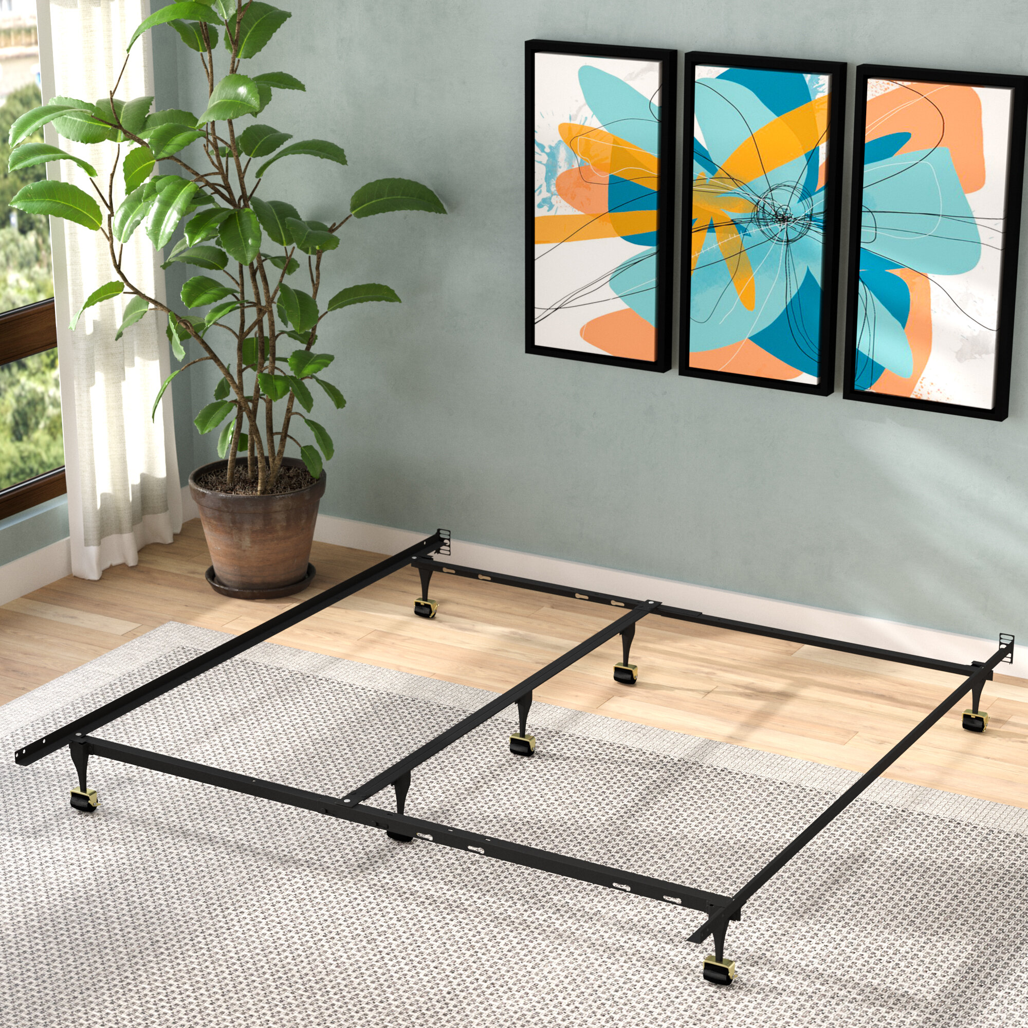 Alwyn Home Caulkins Heavy Duty Adjustable Metal Bed Frame With