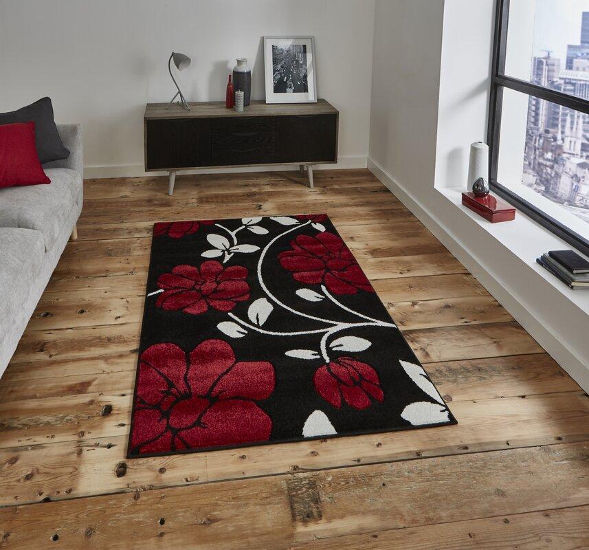 m hlenhaus teppich cassimere in schwarz rot. Black Bedroom Furniture Sets. Home Design Ideas