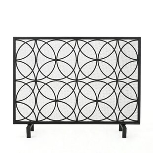 metal geometric doors dp amazon fireplace and durable with com w black frame bronze large mesh steel screen
