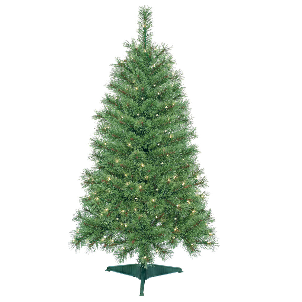 Jeco Inc. 4\' Green Artificial Christmas Tree with 150 Clear Lights ...