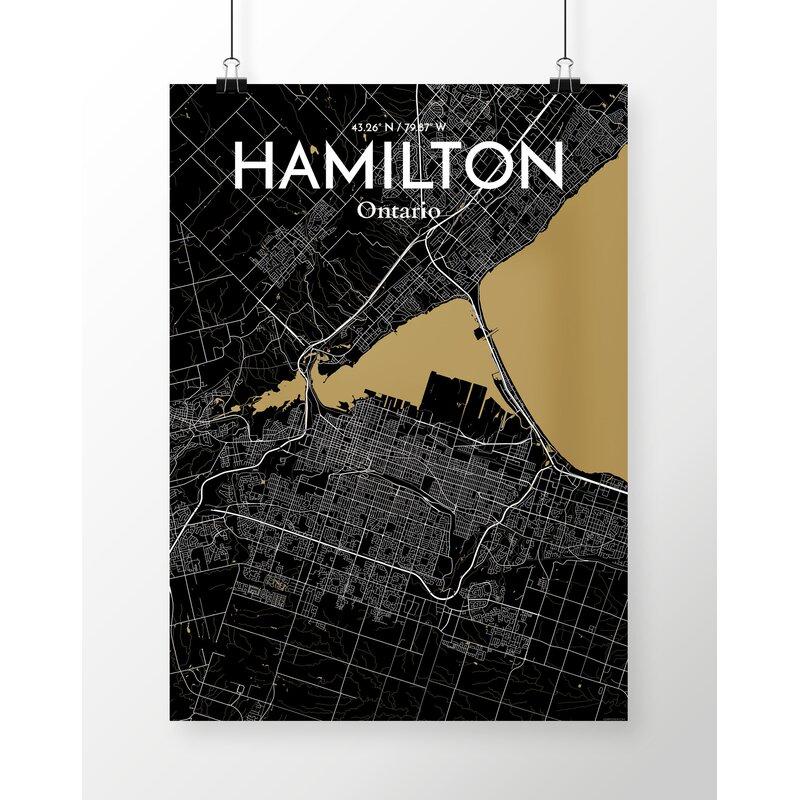 'Hamilton City Map' Graphic Art Print Poster in Black/Gold