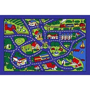 Kids Street Map Blue/Green Area Rug