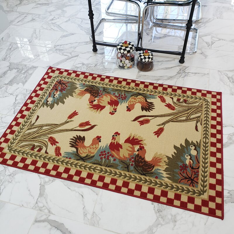 Three Posts Harmon Rooster Checkered Cream Red Kitchen Area Rug Reviews Wayfair