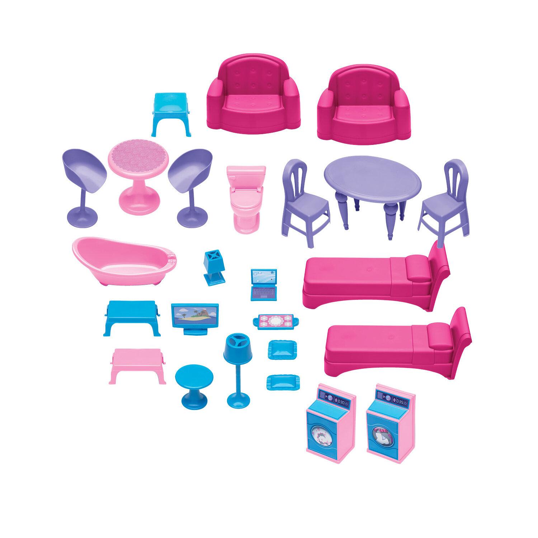 American Plastic Toys 25 Piece Delightful Dollhouse Set & Reviews ...