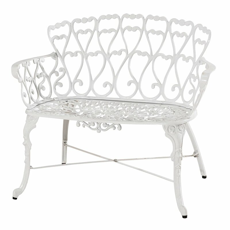 Cast Aluminum Patio Furniture Heart Pattern: PierSurplus Victorian Cast Aluminum Garden Bench & Reviews