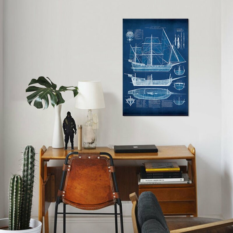 Beachcrest home antique ship blueprint i graphic art print on antique ship blueprint i graphic art print on wrapped canvas malvernweather Image collections