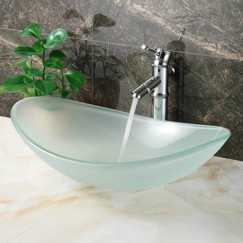 Double Layered Tempered Glass U Shaped Vessel Bathroom Sink