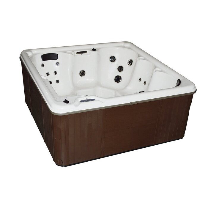 CyannaValleySpas 6-Person 31-Jet Spa with LED Lights and Lounger ...