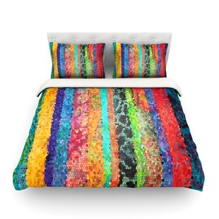 Stained Glass Batik Mosaic Stripe By Catherine Holcombe Featherweight Duvet  Cover