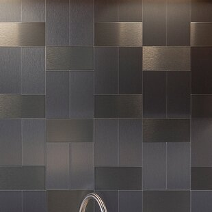 stainless steel peel and stick backsplash tile you ll love wayfair rh wayfair com Peel and Stick Backsplash for Kitchens peel and stick metal backsplash lowes
