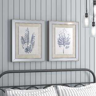 603a7d3a555d  Modern Leaf Silhouettes  2 Piece Framed Graphic Art Print Set on
