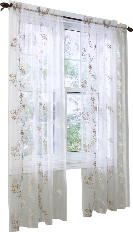 Beatrice Nature/Floral Sheer Rod Pocket Single Curtain Panel