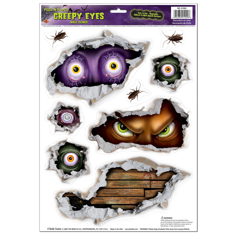 The Beistle Company Halloween Creepy Eyes Peel 'N Place Wall Decal | Wayfair.ca