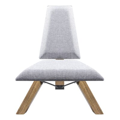 Hahn Slipper Chair In Light Grey Fabric