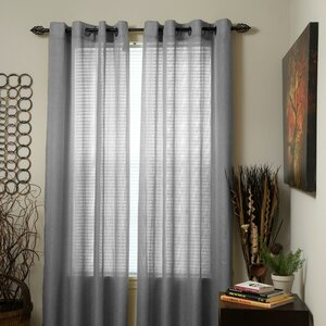 Woven Jacquard Solid Sheer Grommet Single Curtain Panel