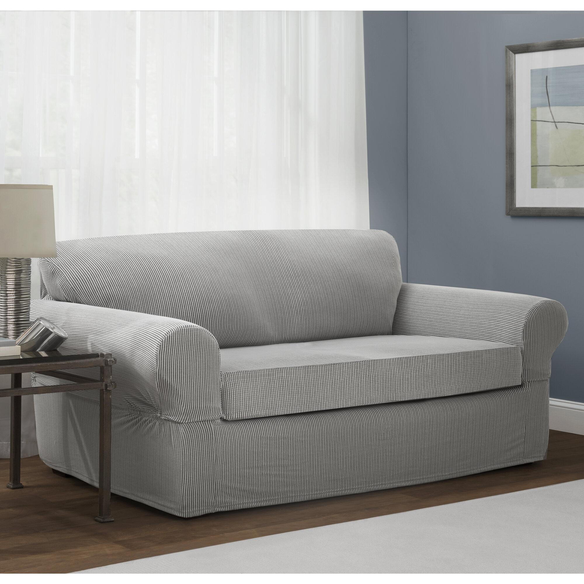 Red Barrel Studio Box Cushion Sofa Slipcover & Reviews | Wayfair