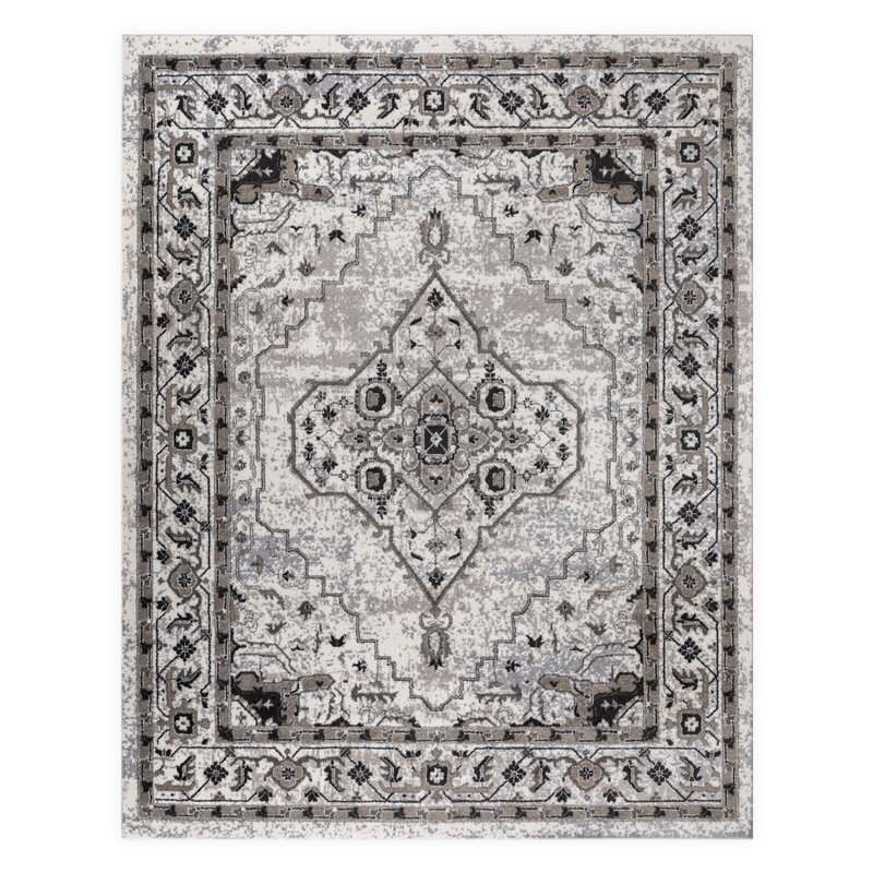 VCNY Antonia Medallion Frise Gray/Beige Area Rug, Size: Rectangle 8 x 10