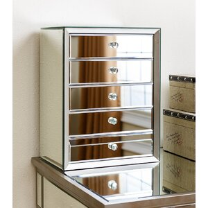 Guadeloupe Mirrored 5 Drawer Jewelry Box