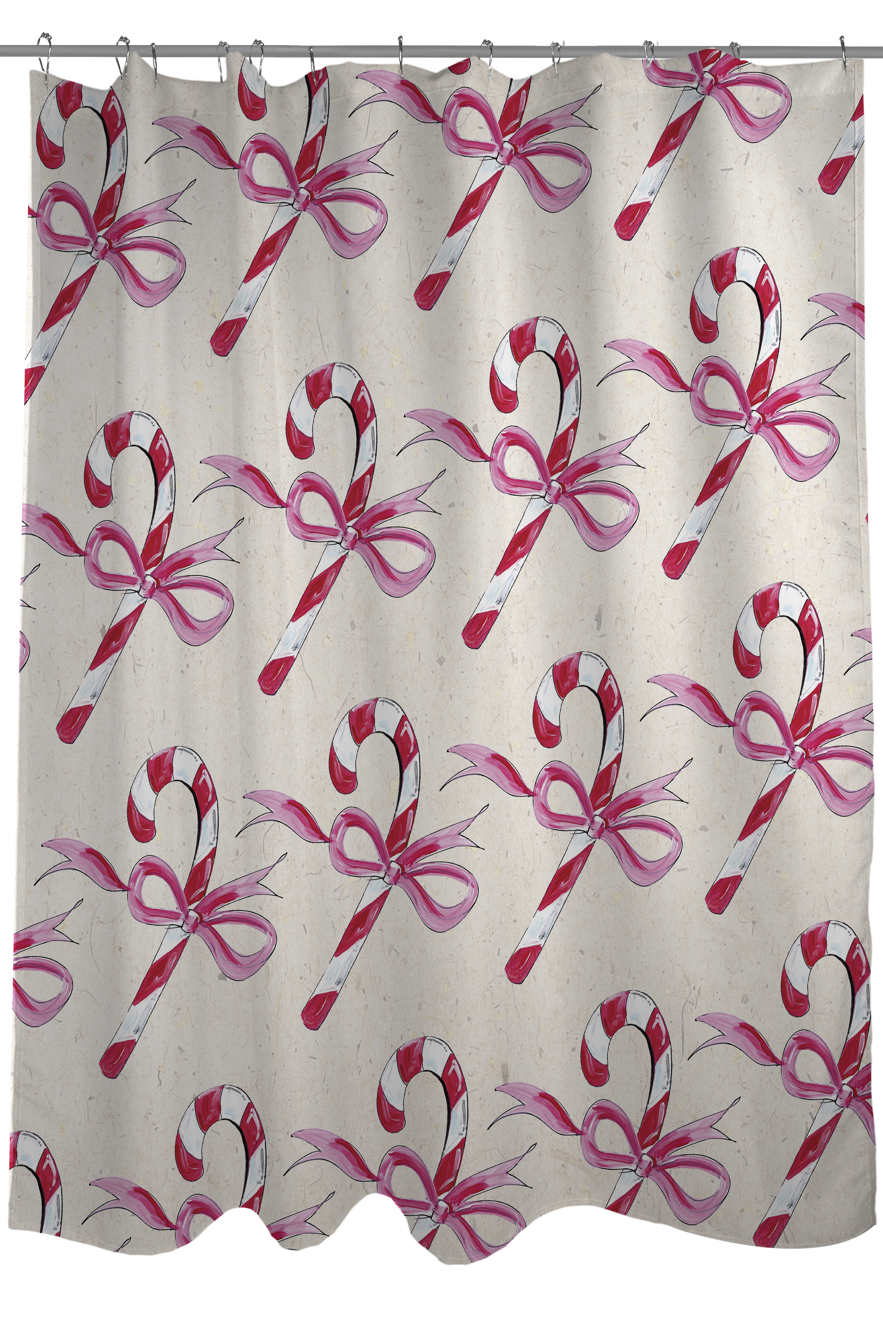 One Bella Casa Candy Cane Bows Shower Curtain