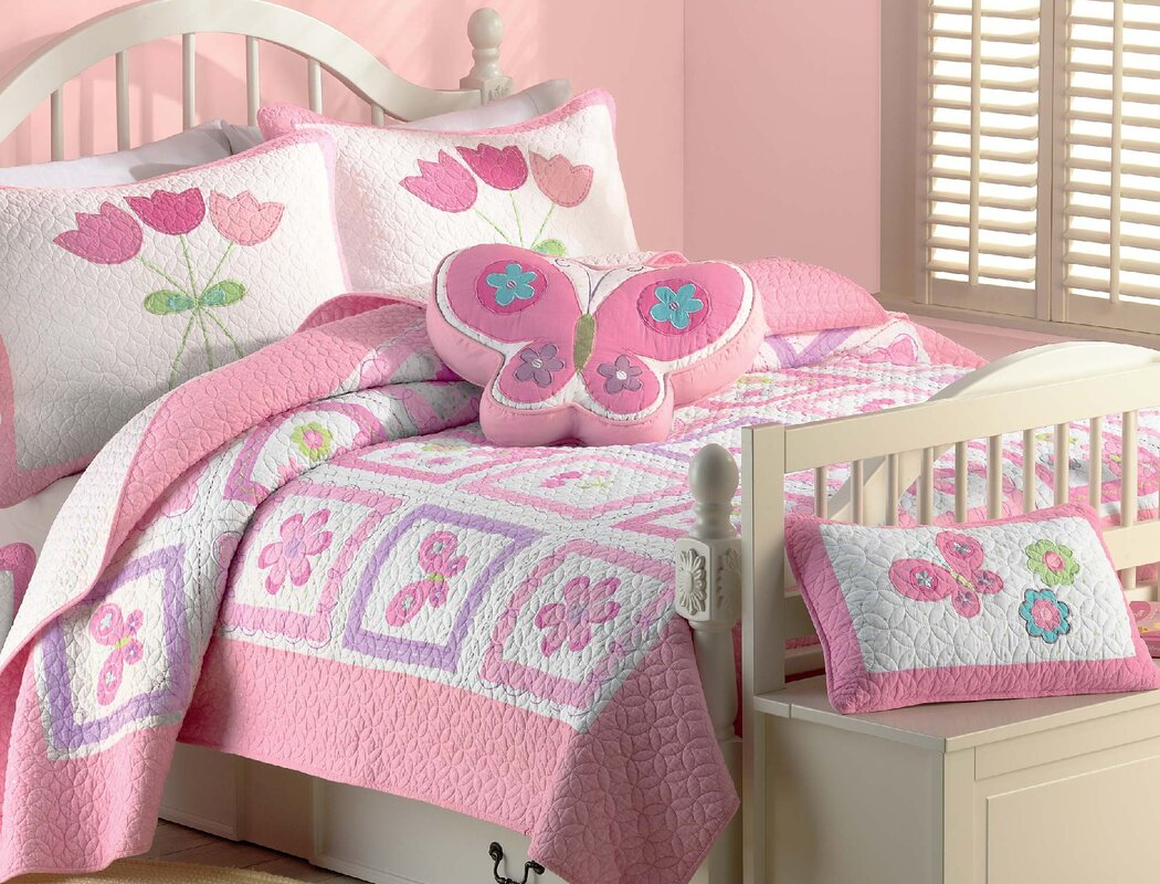 Cozy Line Home Fashion Butterfly Flower 2 Piece Twin Quilt Set ... : twin quilt sets - Adamdwight.com