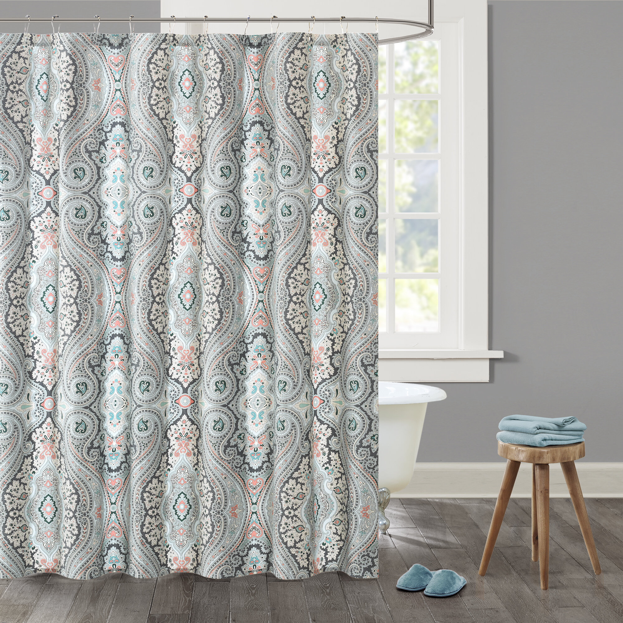 shower lush x amazon decor curtain blue com inch syke kitchen home curtains by dp