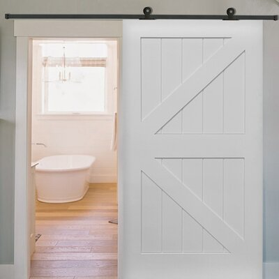 Single Stile And Rail K Planked MDF 4 Panel Interior Barn Door With Hardware