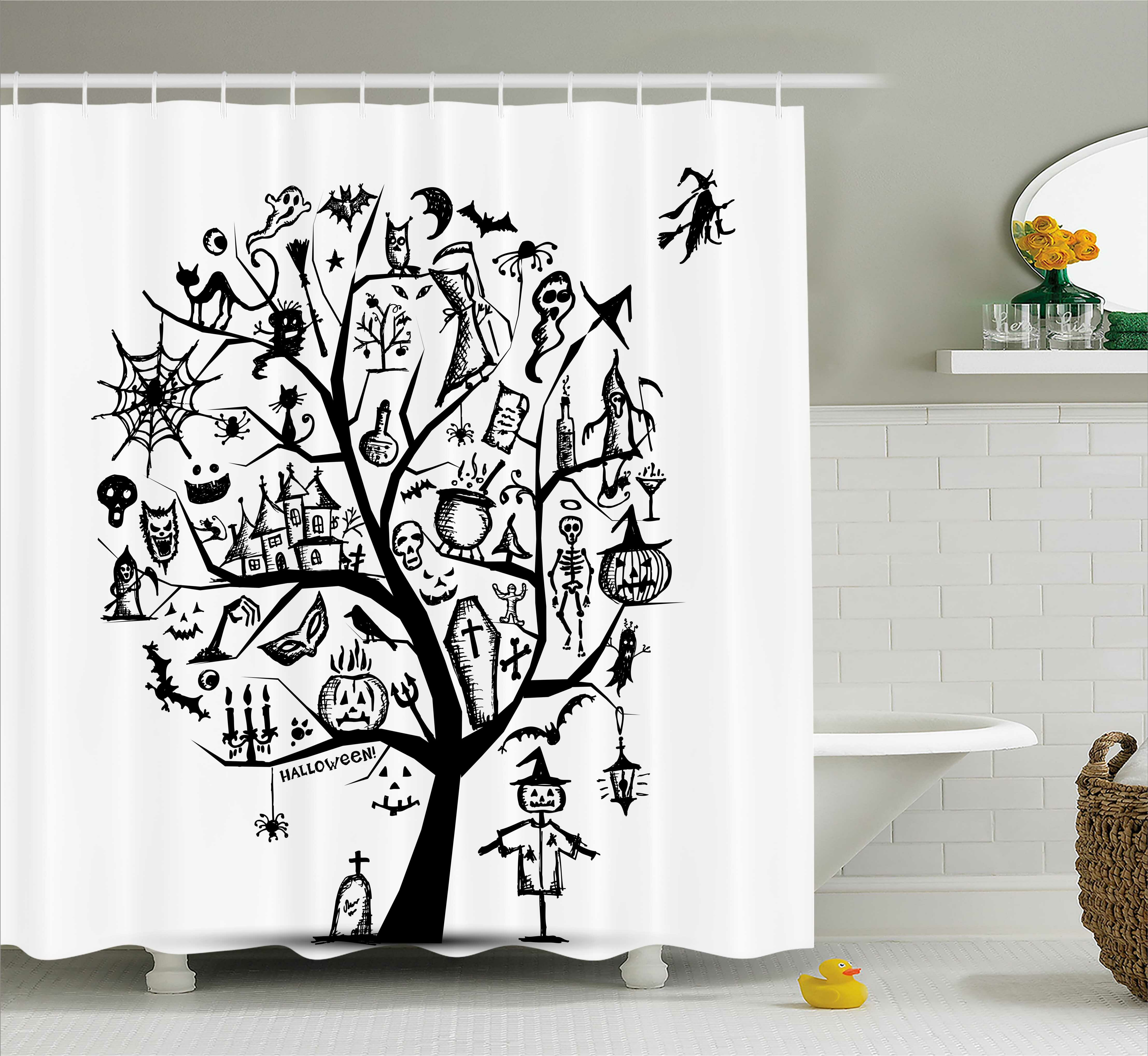 The Holiday Aisle Halloween Decor Flying Witch Shower Curtain