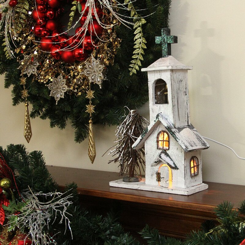 Northlight Lighted Snowy White Glitter Wooden Church
