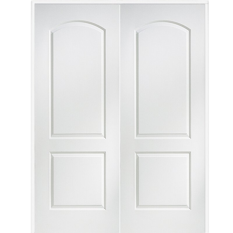 Caiman Arch Top Primed Double MDF Panelled Prehung Interior Door
