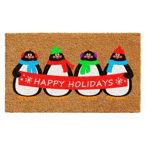 Holiday Penguines Doormat