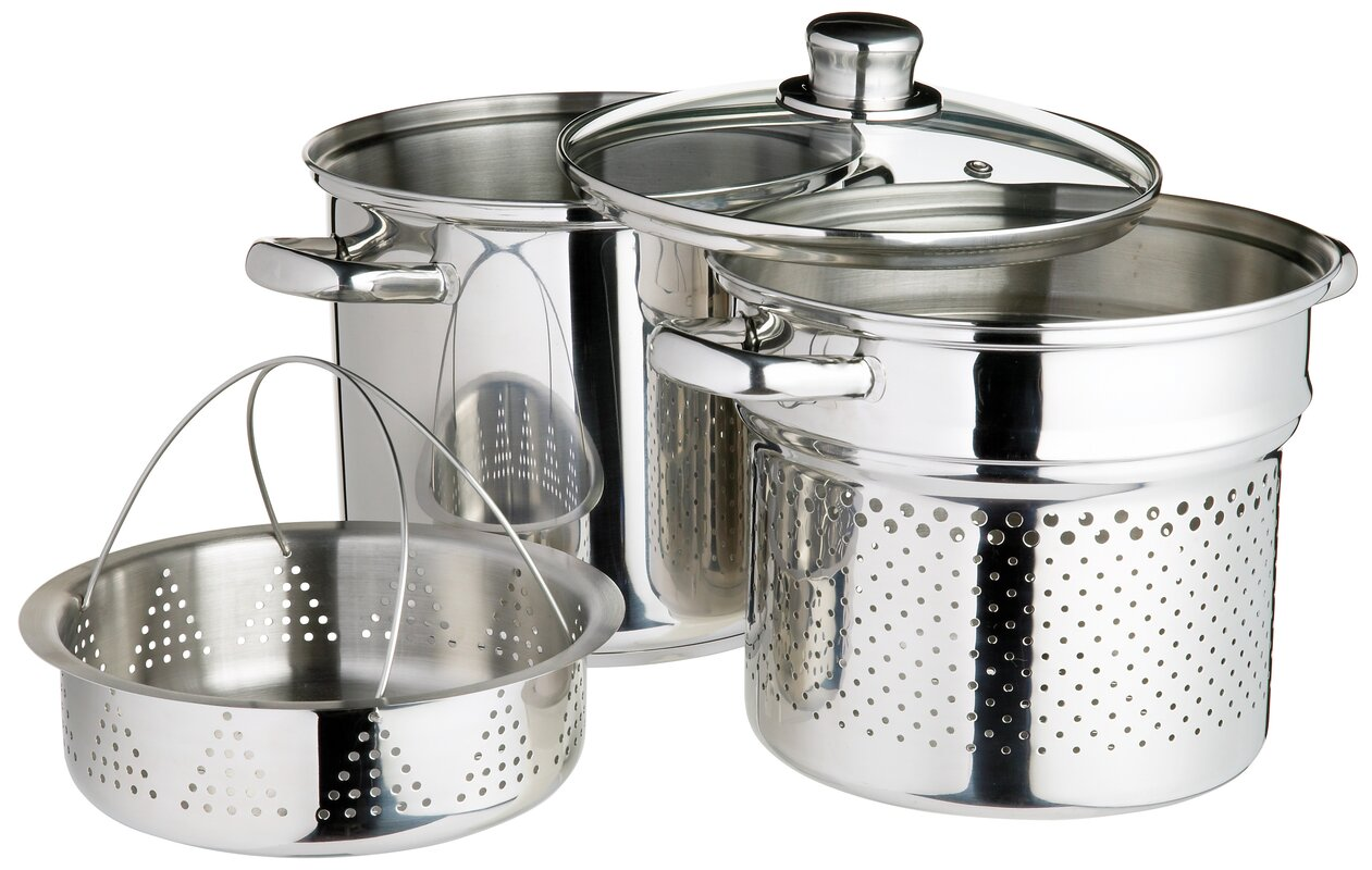 kitchencraft italian 4 piece pasta pot with strainer inserts and lid reviews. Black Bedroom Furniture Sets. Home Design Ideas
