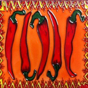 Merveilleux Red Chili Pepper Tile Wall Decor