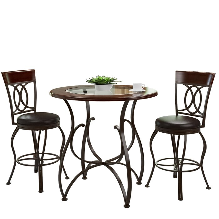 Red Barrel Studio Mekhail Counter Height Rustic Pub Table Set