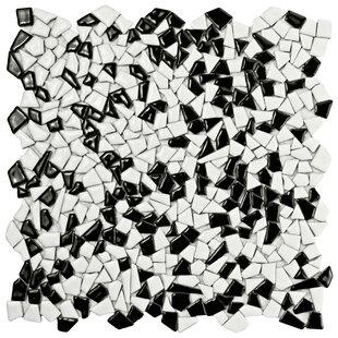 Mareado Ceramic Mosaic Tile In Black White