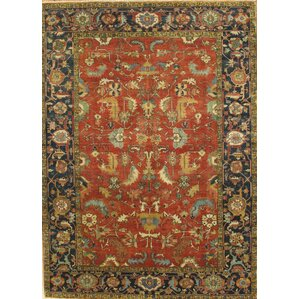 serapi heriz handknotted bluered area rug