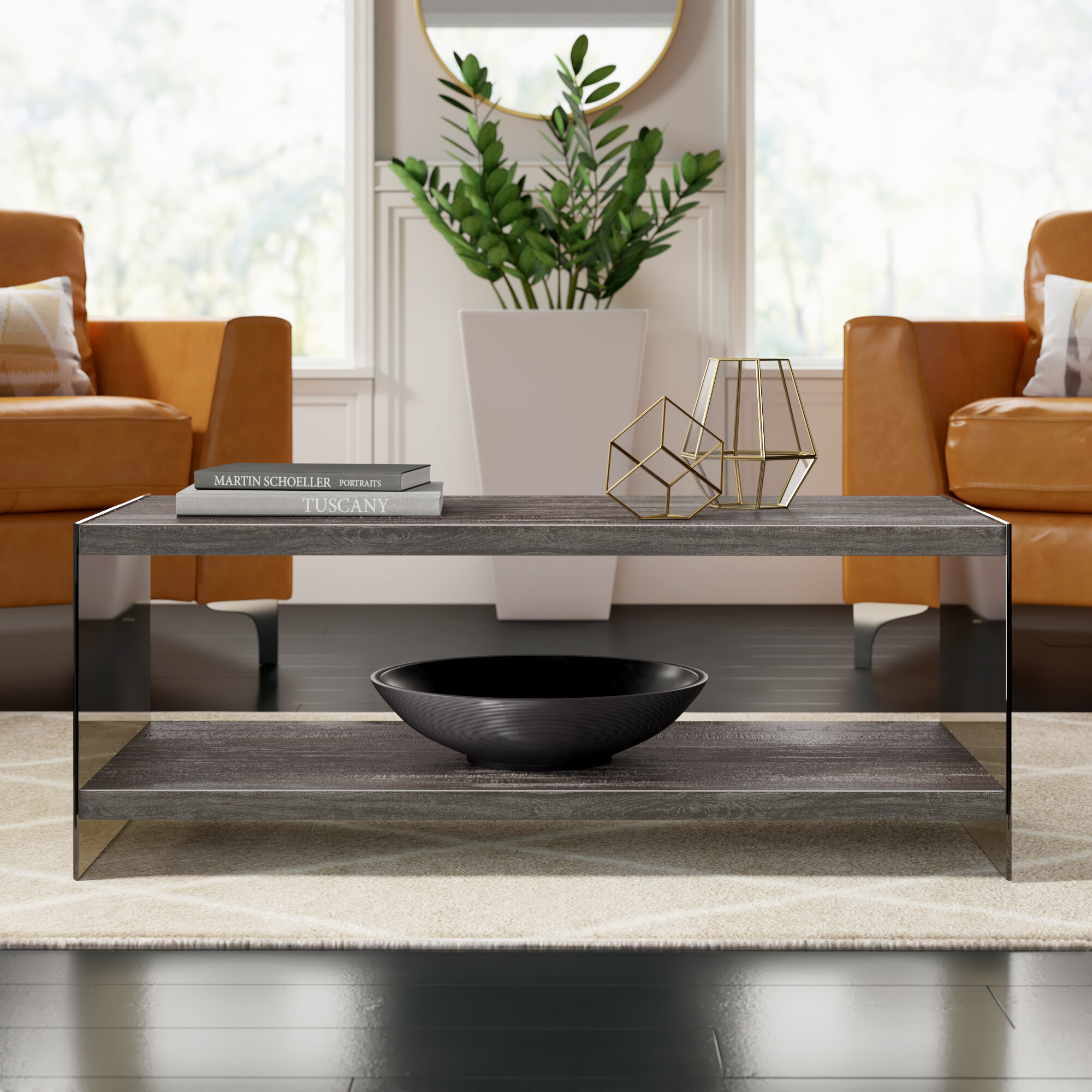 Mercury Row Liter Modern Coffee Table With Tray Top