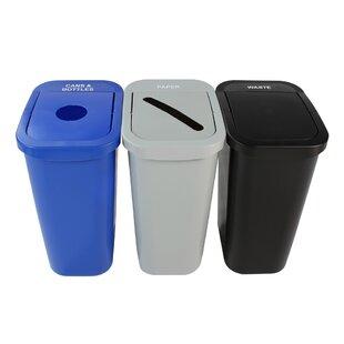 Billi Box Cans Bottles And Paper  Gallon Recycling Bin Set