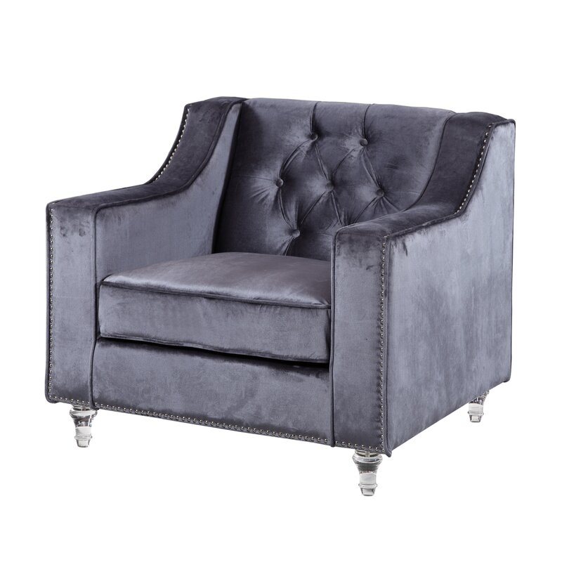Lovely Dylan Silver Nailhead Trim Button Tufted Armchair Awesome Ideas